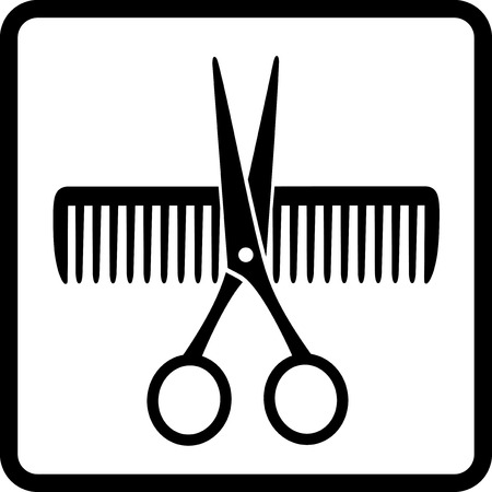 black scissors and comb on white background in frame Vector