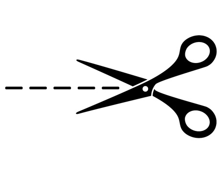 pair of scissors: cut lines and black scissors on white
