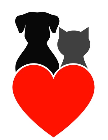 dog, cat silhouette and red heart on white