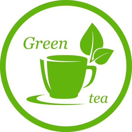 steam of a leaf: green tea icon with leaf in round frame on white Illustration