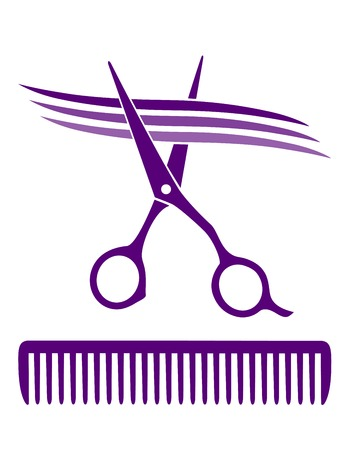 comb hair: hair salon icon with scissors and comb Illustration