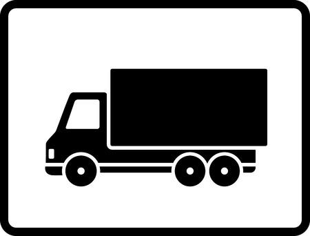 black shipping truck on white  Vector