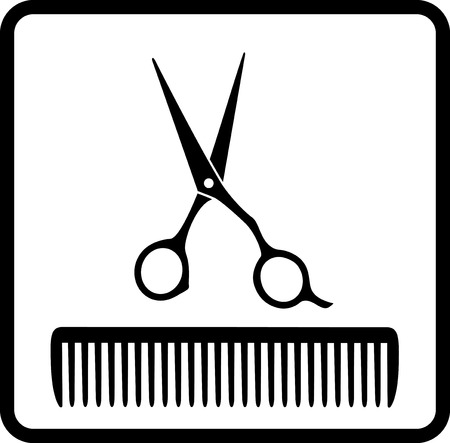 black abstract icon with scissors and comb on white