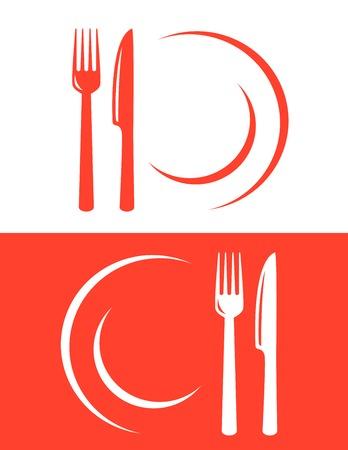 ナイフとフォークの 2 つの赤いレストラン アイコン  イラスト・ベクター素材