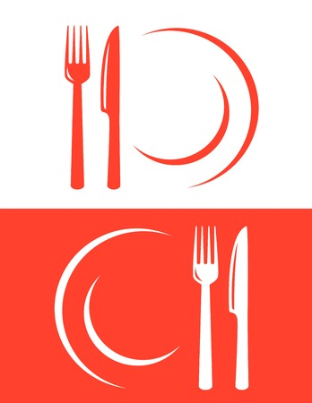 two red restaurant icons with fork and knife