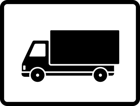black delivery truck on white background in frame
