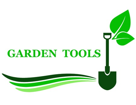 garden tool background with shovel and green leaf Vettoriali
