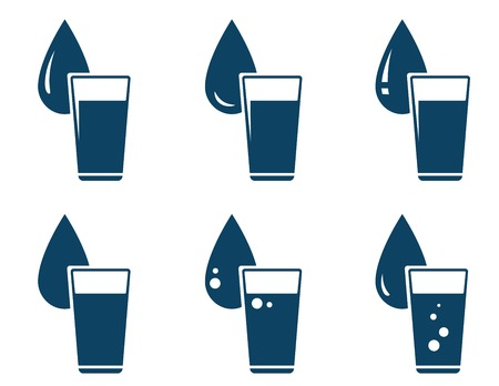 purification: set of water glass with drop on white background Illustration