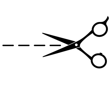black cutting scissors with line on white background Vector