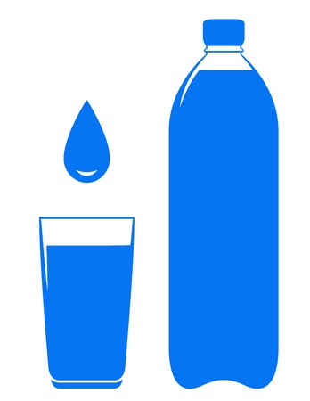 water filter: sign with water bottle glass and drop on white background