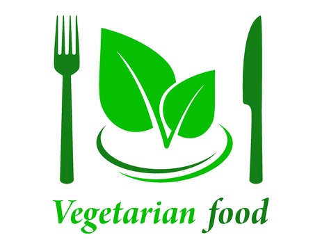 vegetarian restaurant icon with fork knife and green leaf