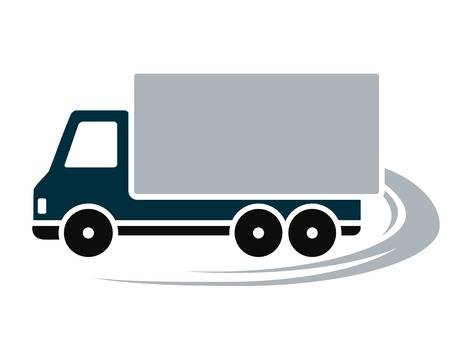 sign with shipping truck and abstract road Vector
