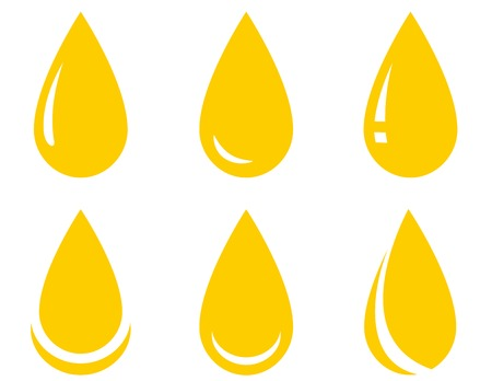 yellow isolated oil drop set on white background Vector