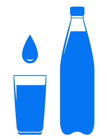 water jug: water drop falling in glass with bottle on white background