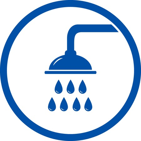 water filter: blue sign with shower head on white background