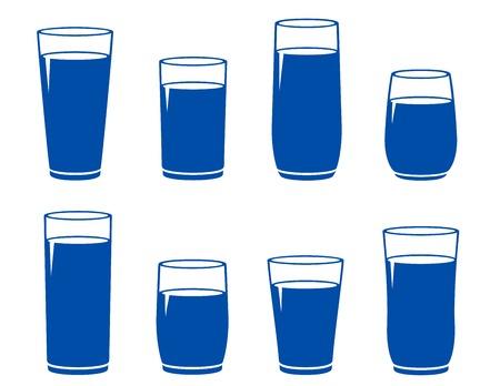 tipple: set of blue water glass on white background Illustration