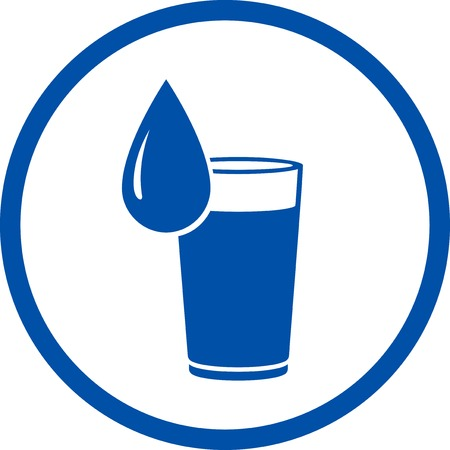 soda splash: blue drop and water glass icon in round frame