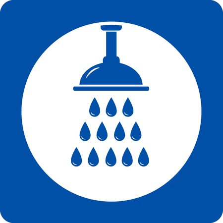 blue shower head icon with water drops Vector