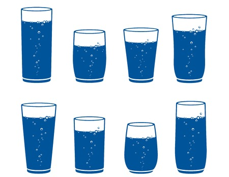 WATER GLASS: bicchiere di acqua frizzante impostato su sfondo bianco Vettoriali