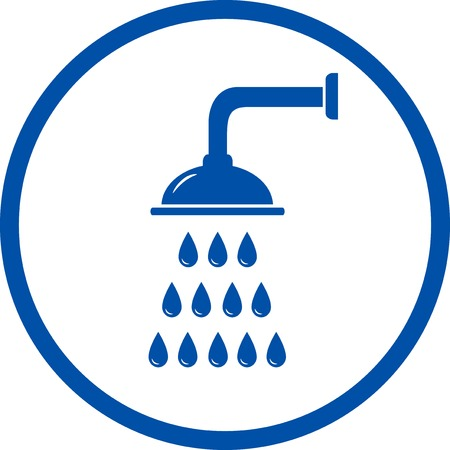 blue sign with shower head in round frame Vector