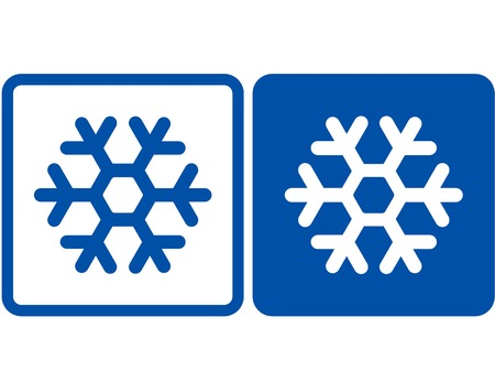 cold climate: two blue abstract snowflake icons