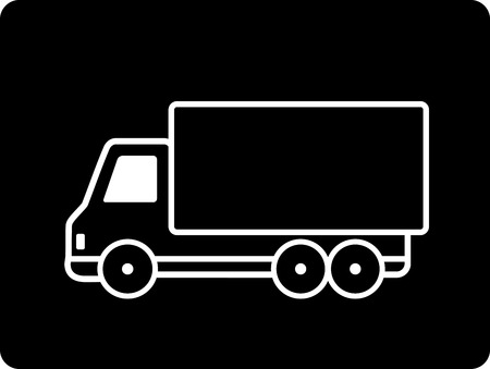 cartoon black shipping truck sign Vector