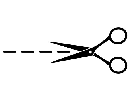 cut line with black scissors on white background Vector