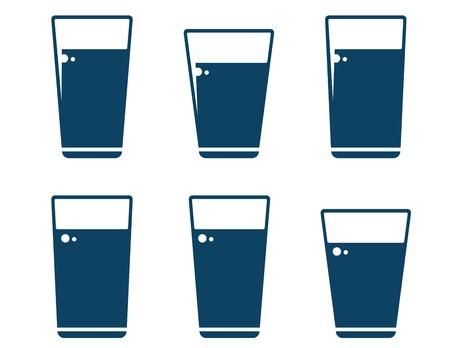 soda splash: set of water glass icons on white background