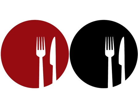 fork in the road: red and black plate with fork and knife silhouettes Illustration