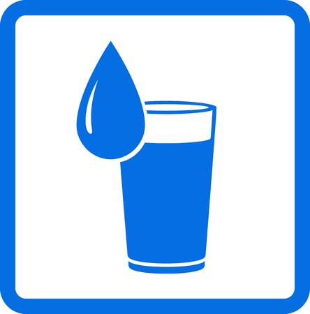 soda splash: blue abstract water glass and drop in frame Illustration
