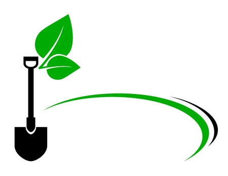 lawn care: background with shovel and green leaf