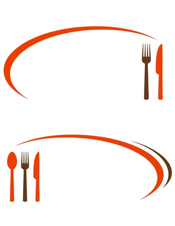 fork in the road: cafe background with fork, spoon and knife