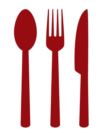 fork in the road: red cutlery set on white background