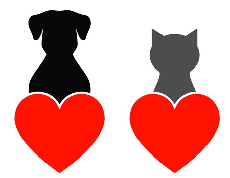 dog and cat with red heart on white background Vector