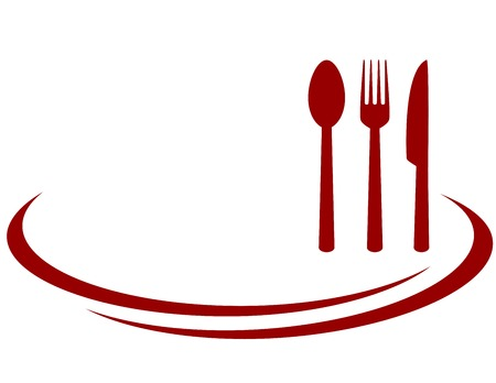background for restaurant with red fork, knife and spoon Ilustração