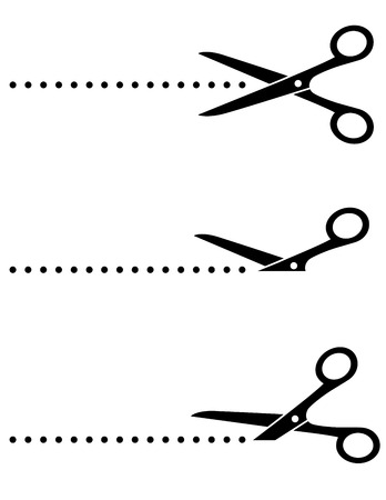 scissors icon: black scissors icon set with cut line on white background