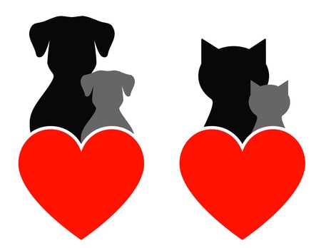 dog and cat sign with kids and heart Vector