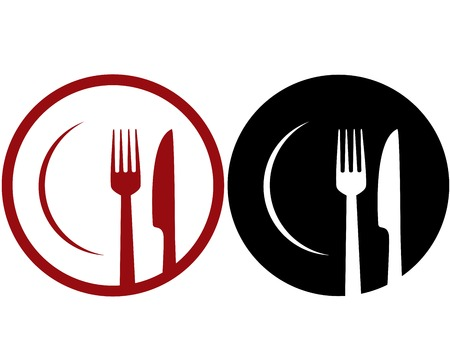 abstract cafe sign with plate, fork and knife 免版税图像 - 31614325