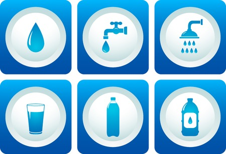 blue water and plumbing service icon set Vector