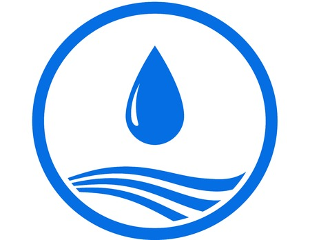 sign with water drop and blue abstract wave