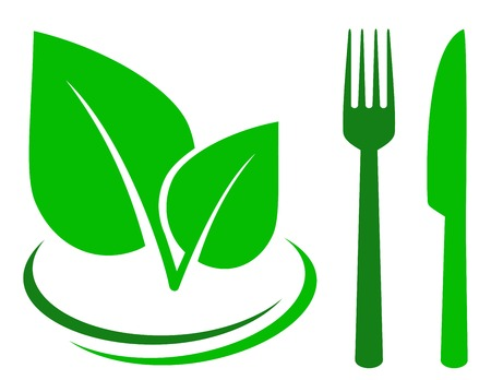 green sign with leaf and cutlery on white background