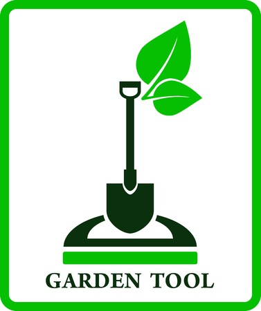 garden landscape: green garden sign with shovel and green leaf