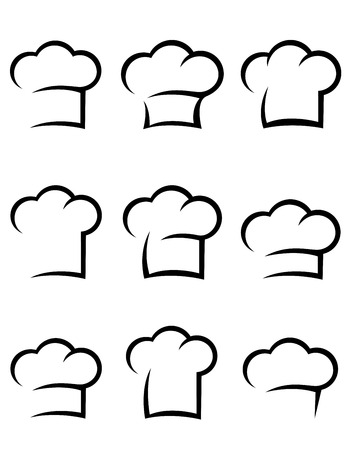 black abstract isolated chef hat set on white background Vectores