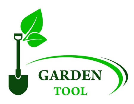 gardening tool: garden background with shovel and green leaf with decorative line