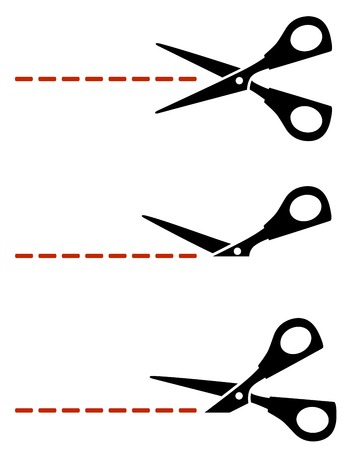 scissors with red cut lines on white background Vector