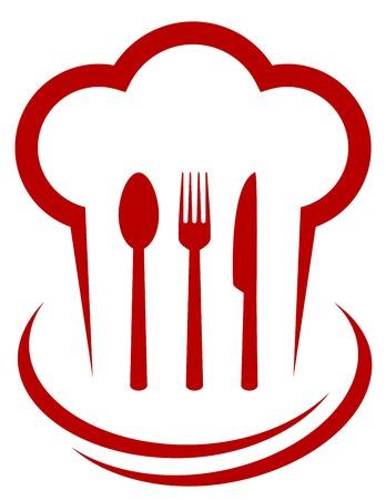 dinner food: icono rojo con gorro de cocinero y cubiertos en el fondo blanco