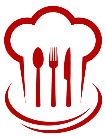red icon with chef hat and cutlery on white background