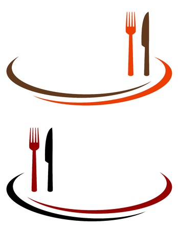 fork in the road: restaurant background with cutlery and place for text Illustration