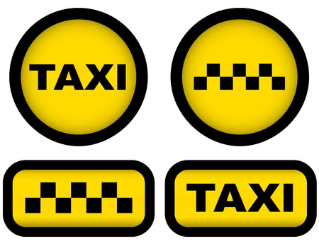 car rent: yellow taxi signs set on white background Illustration