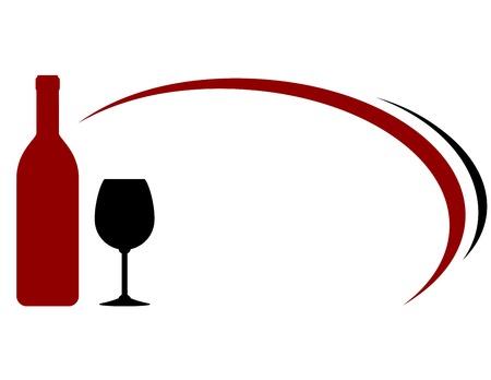 decorative lines: fondo con botella de vino rojo, de vidrio y l�neas decorativas Vectores